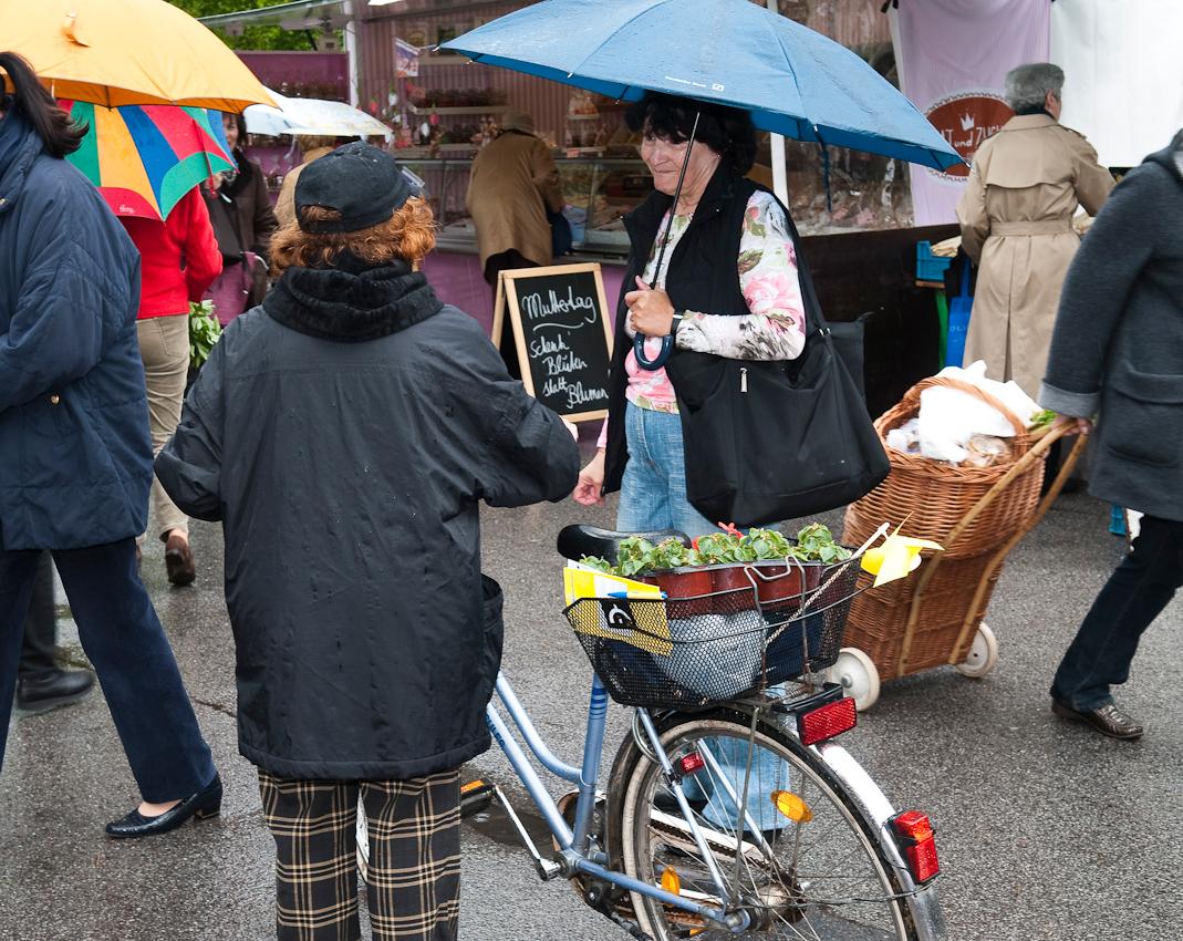 Wochen-Markttag in Refrath, Bergisch Gladbach, am 7.5.2010, fotografiert von Ulla Franke. Zwei Chorfreundinnen, Undine und Margarethe, treffen sich nach langer Zeit auf dem Markt wieder. Sie stehen sich gegenüber, Undine hat einen Schirm in der Hand, Margarethe, dem Betrachter den Rücken zugewandt, hält ihr Fahrrad, das mit Einkäufen bepackt ist. Drumherum laufen Menschen mit Regenschirmen herum.