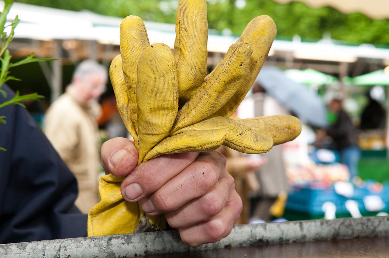 Wochen-Markttag in Refrath, Bergisch Gladbach, am 7.5.2010, fotografiert von Ulla Franke. Blumenhändler Koebke aus Refrath braucht bei dem Regenwetter noch immer seine gelben Handschuhe, die er in der Hand hält, mit der er sich auf eine Blumenablage stützt. Im Hintergrund ahnt man nur etwas vom regennassen Markttag.